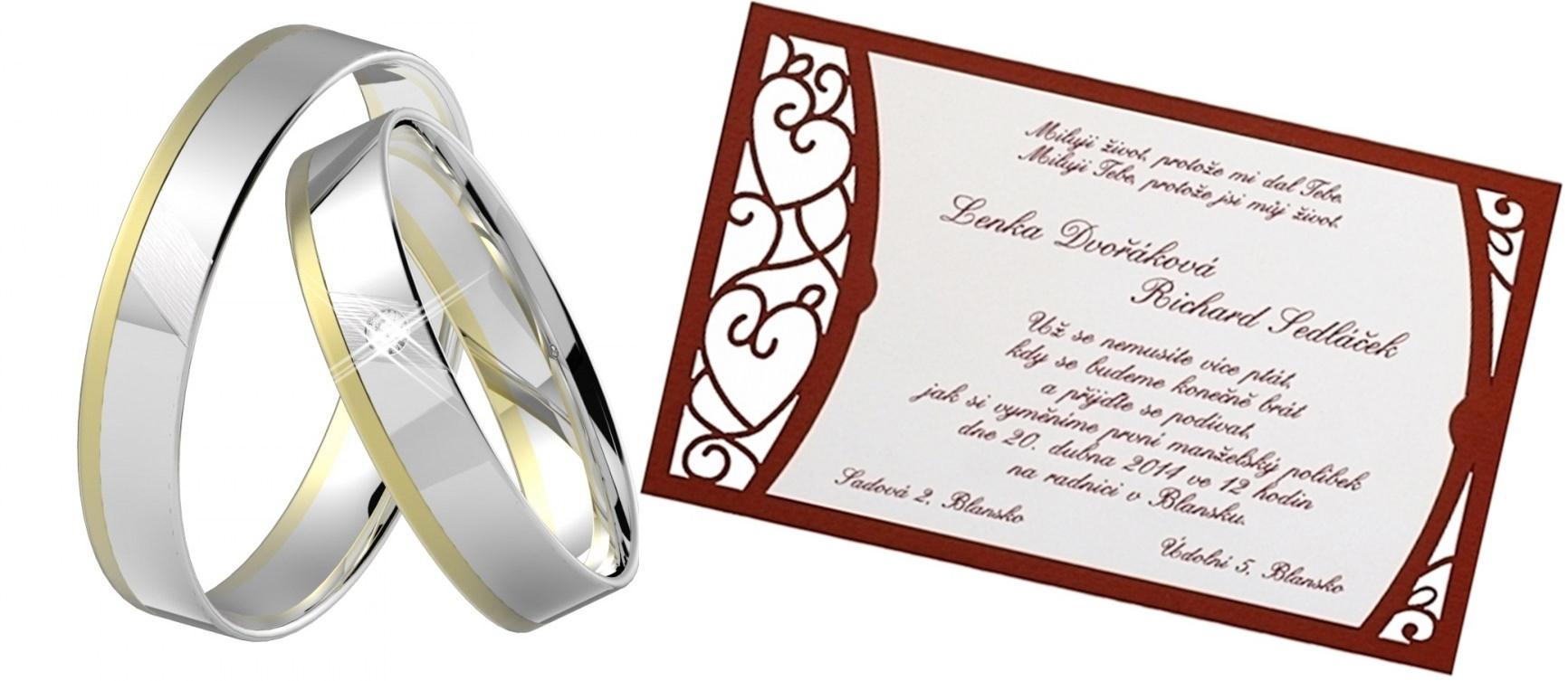 Zprostředkujeme (oznámení, zásnubní a snubní prsteny)