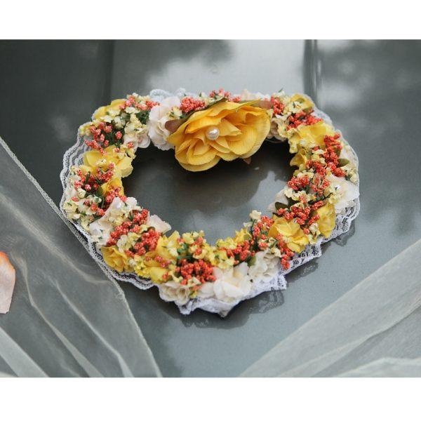 Srdíčko 10 žluto oranžové kytičky (2)