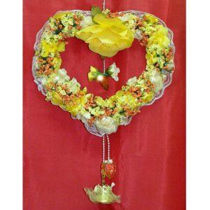 Závěs na dveře 07 žluto oranžové srdce