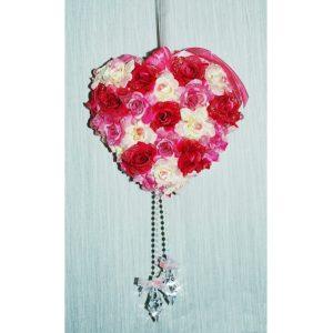 Závěs na dveře 14 růžové srdce