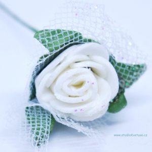 Růžička bílá 06 s tylem