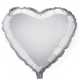 Stříbrný fóliový balonek srdce 04