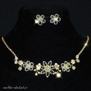 Náhrdelník 011b čiré crystaly / zlatý kov
