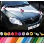 Šerpa na auto 03 květy,Svatební set na dvě auta 04,svatební výzdoba,šerpa svatební,svatba,ozdoba na auta,růže,cylindr,přísavka,mašle,nevěsta,svatební ozdoby,ženich,levně,lilie,