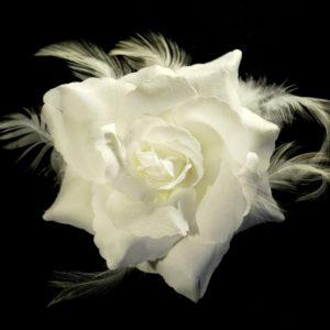 Růže 14 bílá s peřím 10cm