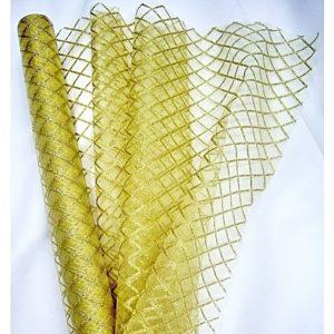Organza béžová 104 zlatá mřížka