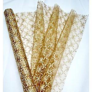 Organza hnědá 105 zlaté mašličky