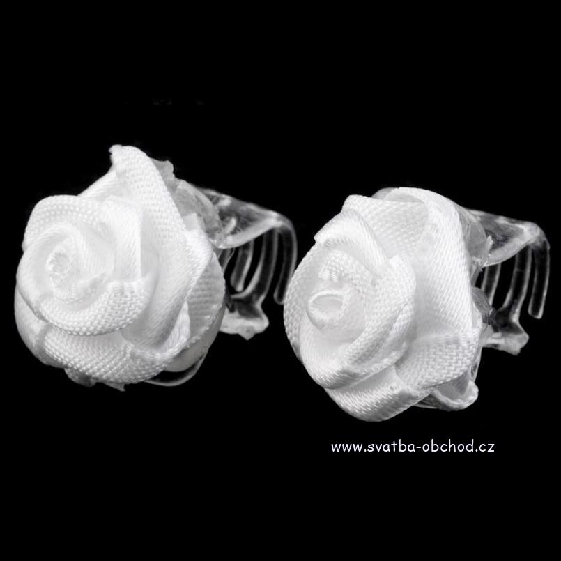 Skřipeček 04 bílá růžička - Studio Květuše skřipeček do účesu 6e970b5a9a