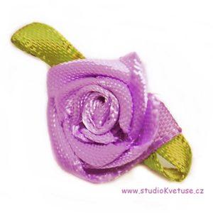 Růžička skládaná 13 fialová s lístky