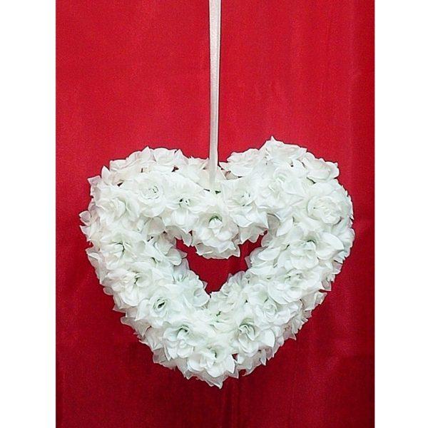 Závěs na dveře 01 bílé srdce