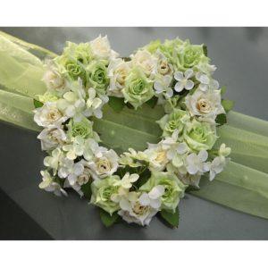 Srdíčko 07 zeleno bílé růžičky