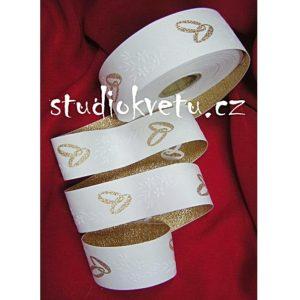 Stuha bílá zlaté prstýnky