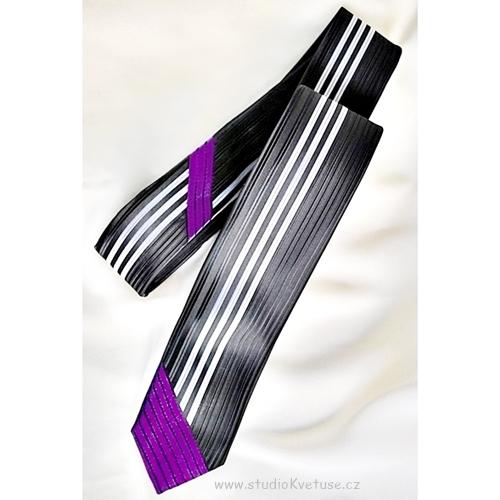 Kravata 171 - černo fialová s proužky - Studio Květuše 0be0d8f6b4