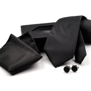 Kravata knoflíčky kapesníček 02 černé
