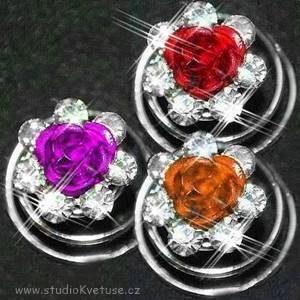 Spirálky 16 růžička - červená fialová oranžová
