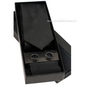 Kravata knoflíčky kapesníček 08 černé