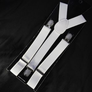 Pánské pružné šle bílé 02