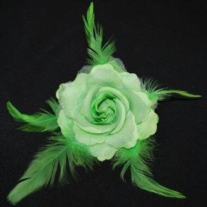 Růže 03 zelená s peříčky 9cm