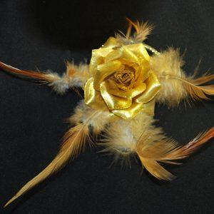 Růže 07 kovově zlatá 6cm