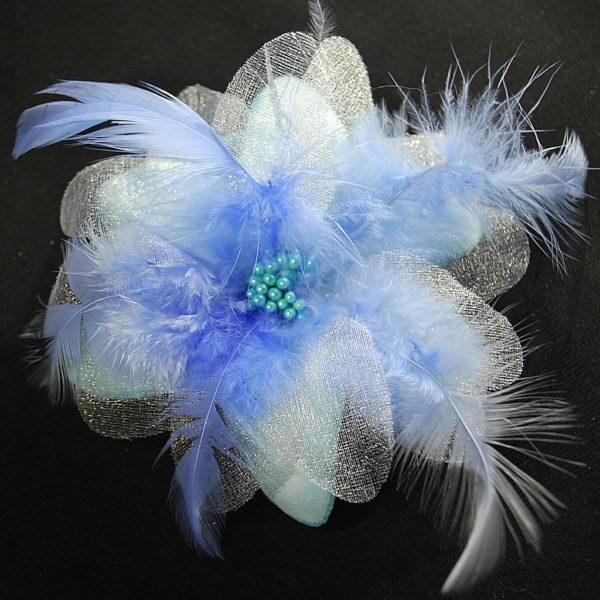 Růže 08 modrá s peříčky 9cm