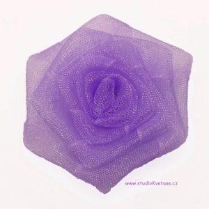Růžička skládaná 13 fialová organzová
