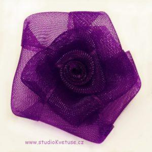 Růžička skládaná 13 tm. fialová organzová