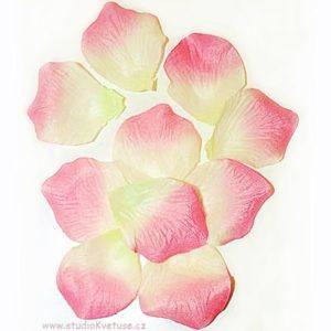 Okvětní plátky růží 006 růžovo bílo žluté