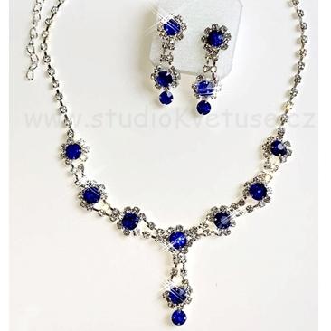 d2785e73d Náhrdelník 001 modrý + čiré štrasové kamínky - Studio Květuše